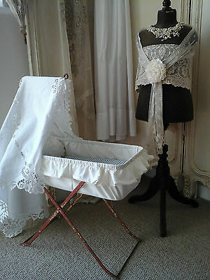 Antique PELSO England Registered Sm Cot/Moses Crib/Doll Bed~1940-Original Paint