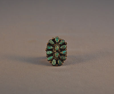 Old Vintage Navajo Indian Large Cluster Ring - Natural Turquoise - Size 7 1/2