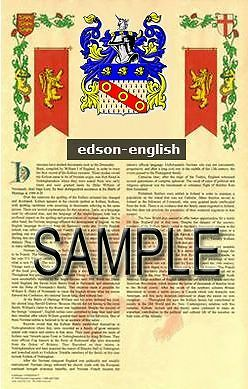 EDSON Armorial Name History - Coat of Arms - Family Crest GIFT! 11x17