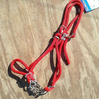 Valhoma red yearling size cow rope control halter w/ chain