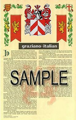 GRAZIANO Armorial Name History - Coat of Arms - Family Crest GIFT! 11x17