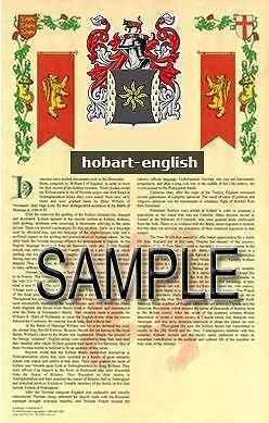 HOBART Armorial Name History - Coat of Arms - Family Crest GIFT! 11x17