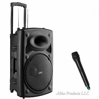 New Portable Bluetooth Rechargeable Karaoke PA Speaker Music System Mic Wireless