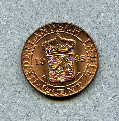 Netherlands East Indies 1/2 C 1945-P KM 314.2 Brilliant Uncirculated