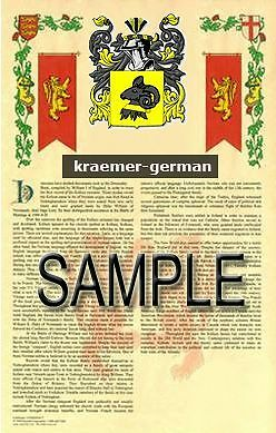 KRAEMER Armorial Name History - Coat of Arms - Family Crest GIFT! 11x17
