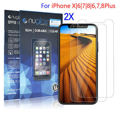 2x Nuglas Tempered Glass Screen Protector Guard For iPhone 7 6 6S Plus