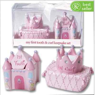 2¼ - 3 Inch - Girl First Tooth & Curl Keepsake Set. Baby Girl's 1st Tooth/Curl.