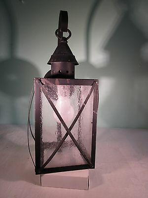 Vintage/Antique Black Tin and Glass Porch LIght