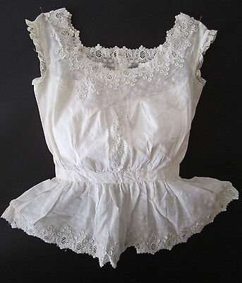 Antique Victorian Edwardian Cotton Lace Camisole, for Doll dress?