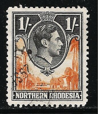 British Colony NORTHERN RHODESIA 1938 Old 1 Shilling King George VI Stamp