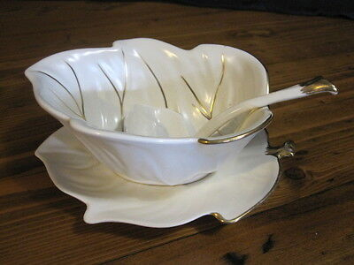 Carlton Ware Small Leaf Shaped Plate Gold Vintage Cream with Gold Trim