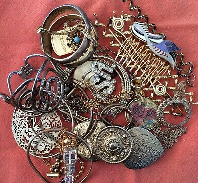 Gold Tone Jewelry 1 LB LOT: Necklaces, Earrings, Etc. Craft Repurpose #6