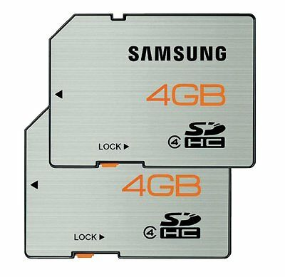 2x Samsung 4GB SD SDHC Memory Card for camera Retail