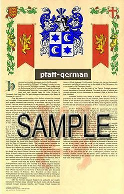 PFAFF Armorial Name History - Coat of Arms - Family Crest GIFT! 11x17