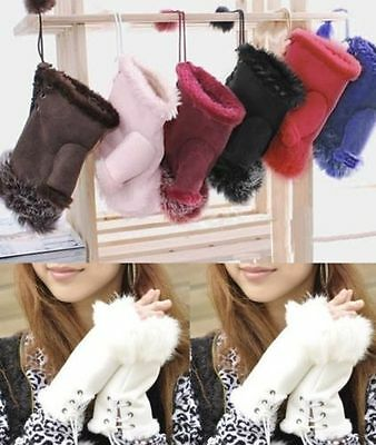 Warm Women Real Rabbit Fur Hand Wrist Warmer Fingerless Winter Gloves Lot