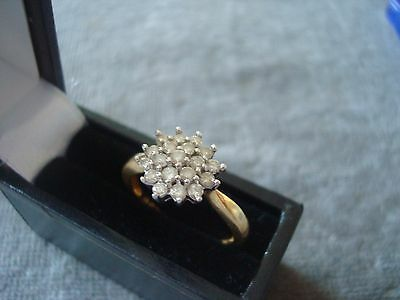LADIES .750 18CT YELLOW GOLD DIAMOND .50ct RING 3.8g SIZE M 1/2 BOXED 5538