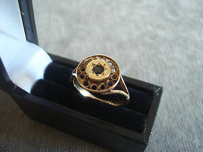 LADIES 9CT .375 YELLOW GOLD COLOURED STONE RING 2.1g SIZE K BOXED