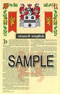 STANCIL Armorial Name History - Coat of Arms - Family Crest GIFT! 11x17