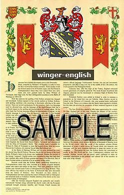 WINGER Armorial Name History - Coat of Arms - Family Crest GIFT! 11x17