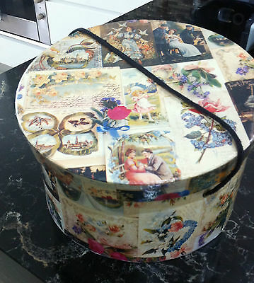 Hat Box Vintage Carboard with Paper Print with Edwardian Scenes