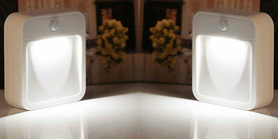 2x LED BATTERY OPERATED NIGHT LIGHT CHILDRENS BEDROOM/STAIR WALL SELF ADHESIVE