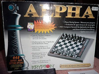 Alpha Krypton Electronic Chess Checkers Computer Complete
