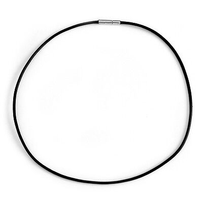 Choker Necklace 1.5mm Black Leather Cord Bayonet Clasp