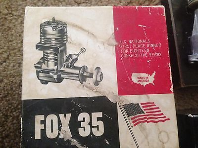 Vintage FOX 35 RC Control Line Model Plane Engine w/Box