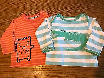 Marks & Spencer Baby Boys Set of 2 Tshirts 6-9 Months Crocodile & Monster