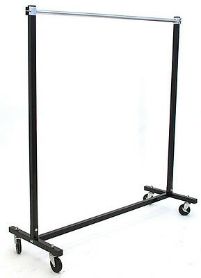 Folding Rack w/ Casters Clothes Garments Display Retail Store Fixture Black NEW