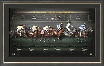 Greats Of The Cox Plate Signed Print Framed Winx Sunline Northerly Kingston Town