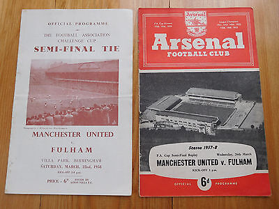 FA Cup Semi Final 1958 Manchester United v Fulham 1st match & Replay programmes