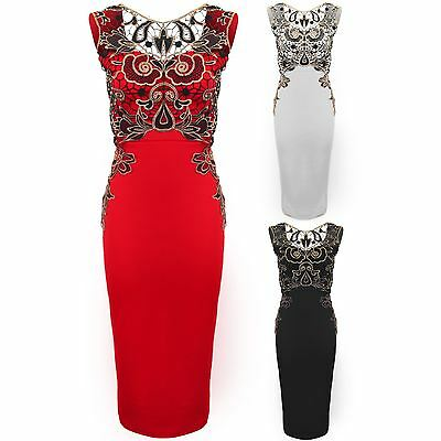 Ladies Metallic Floral Lace Overlay Low Back Midi Knee Length Bodycon Dress