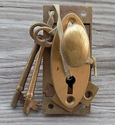 Vintage Brass Norwalk Porch Door Lock Knob Striker, Back Plate  & Orig Keys