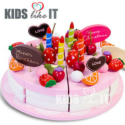NEW KIDS Girls PINK Wooden Pretend Play TOY Birthday CAKE Tea Cup SET Gift IDEA