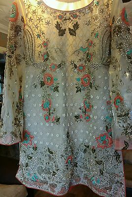Pakistani elan designer wedding partywear embroided dress made on order