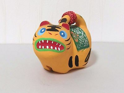 Japanese Antique Pottery Clay Dorei  Face  Paper tiger Bell Hand Made SAL