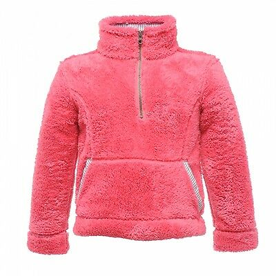 Regatta Blossom Girls Fluffy Hi Pile Half Zip Fleece Jacket Pink