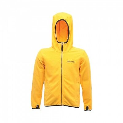 Regatta Frollo Boys Hooded Full Zip Grid Fabric Fleece Jacket Yellow 11-12Yr