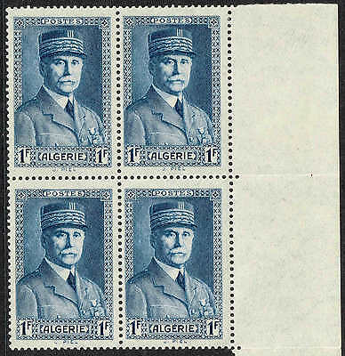 1941 1Fblue,  Marshal Petain unmounted mint block of 4 (MNH)