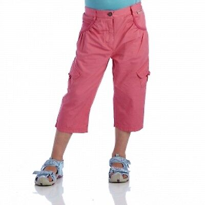 Regatta Moonshine Girls Coolweave Cotton 3/4 Length Capri Trousers Pink