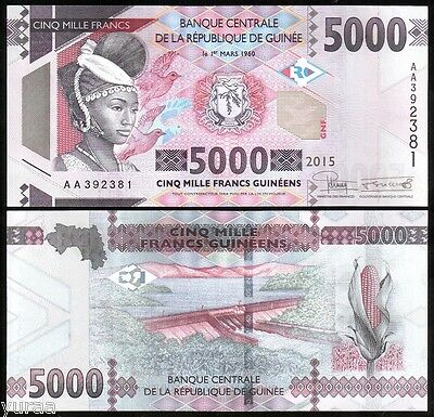 Guinea - 5000 Francs 2015 UNC, Pick NEW