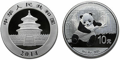 1 oz Silver China Panda 2014 10 yuan Chinese Chine Argent Silber Zilver