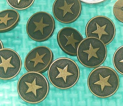 Lot 15 STAR Vintage Antiqued BRASS MeTal New Buttons