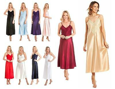 Ladies Long Satin Nightdress Nightie Deep Lace Plus Size Nightwear Sleepwear