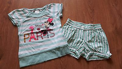 Girls Minnie Mouse Summer Set Green T-shirt and Shorts, size 98cm / 2-3 years
