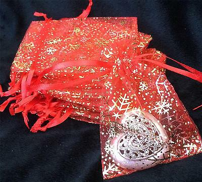 20 PRETTY CHRISTMAS RED WITH GOLD SNOWFLAKE ORGANZA FAVOUR BAGS 9cm X 7cm