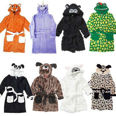 Girls Boys Childrens Animal Novelty Fleece Dressing Gown/Robe Age 2 - 12 Years