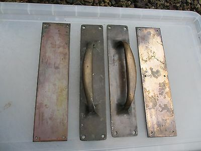 Antique Brass Door Handle Set Shop Pulls Finger Push Plates Bronze Vintage  12""