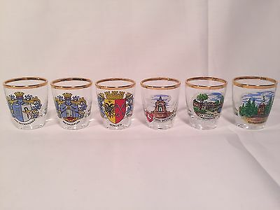 German Shot Glasses Gold Trimmed Lot Of 6 Landmarks